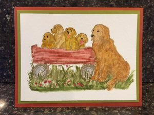 Golden Retriever birthday card Northwood stamps P9989