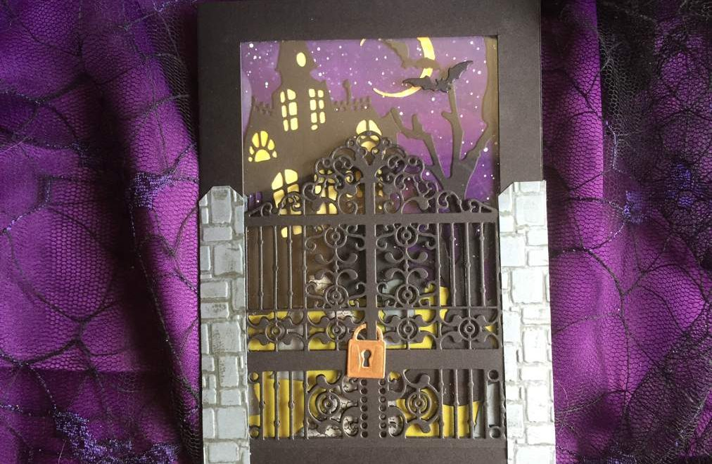 Spooky Halloween Day 4: Graveyard Gate Haunted House on a Hill Card