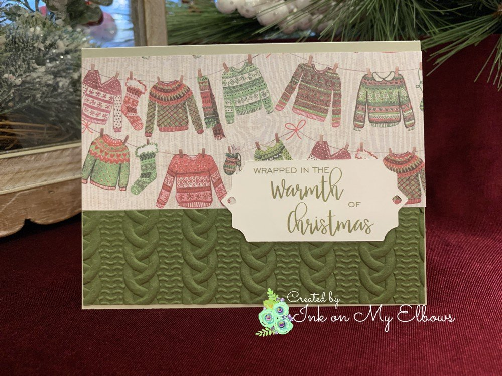 Stampin Up Cable Knit Sweater card