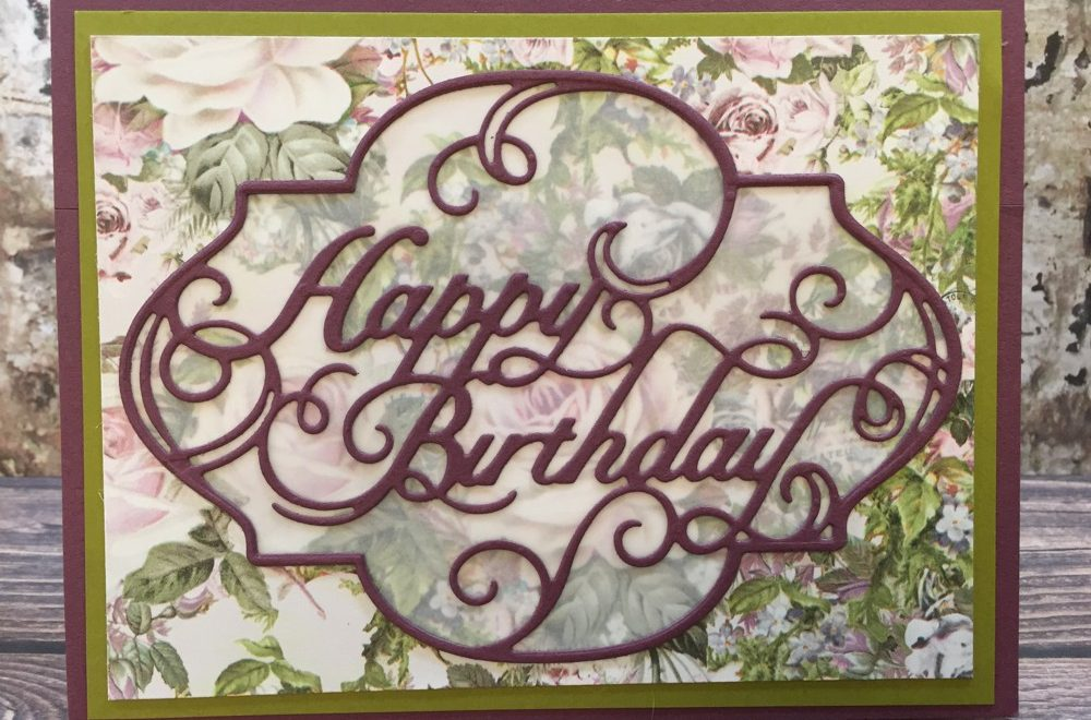 Prima Lavender Die Cut Birthday Card