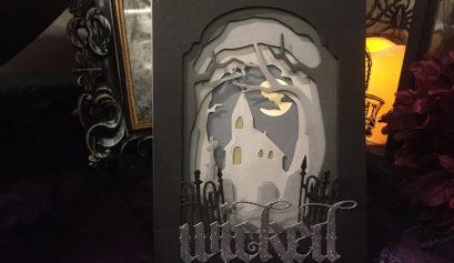 shadowy forest Halloween card