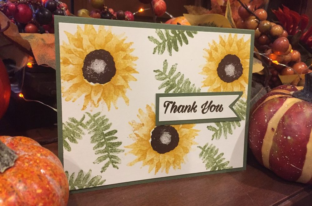 #LoveFallArt Day 2: Painted Harvest Sunflower Thank You Card