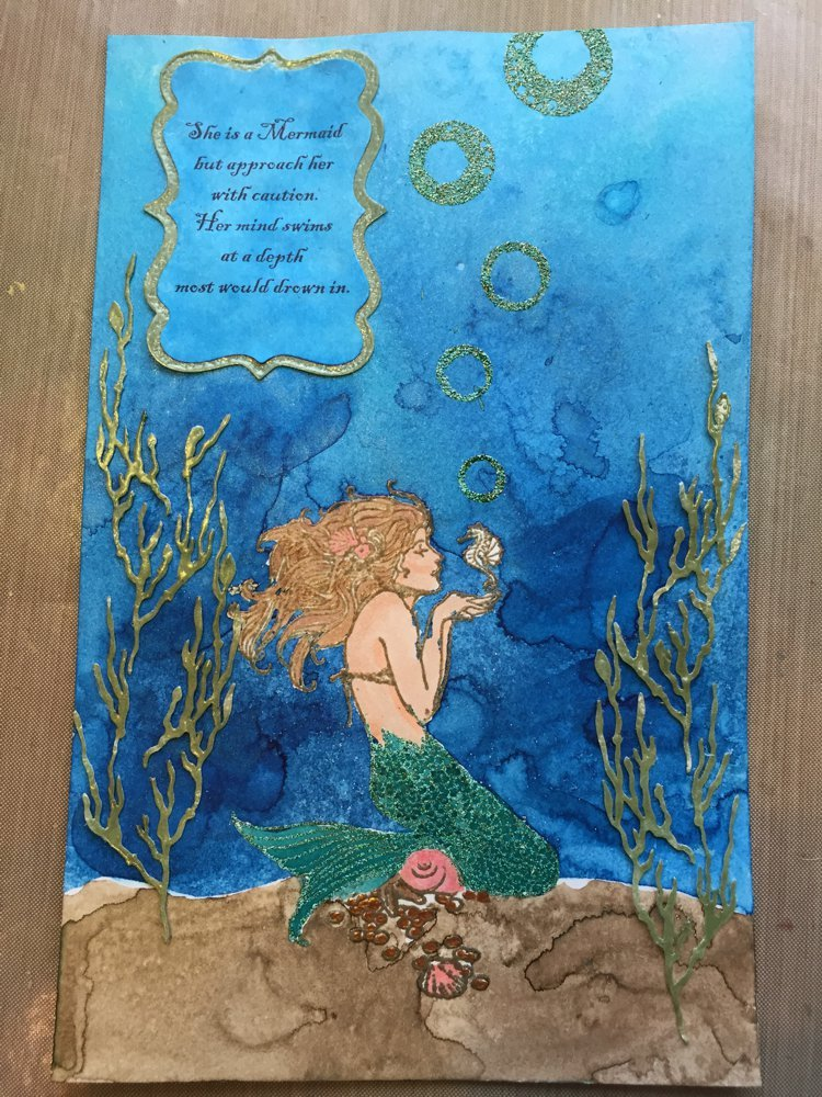 LSG Mermaid Mixed Media Art Journal page